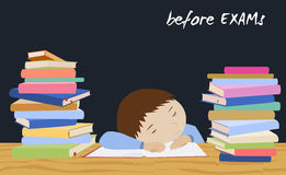 De spanning van de examenstudent Schooljongenslaap op boeken Stock Foto's