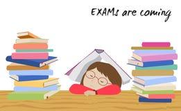 De spanning van de examenstudent Schoolmeisjeslaap in het kader van boek Royalty-vrije Stock Fotografie