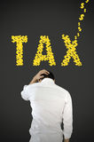 De spanning van de zakenman over belasting. Stock Foto