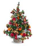 De spar van Kerstmis die met speelgoed wordt verfraaid Stock Foto's