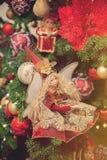 De spar van Kerstmis met decoratie Stock Fotografie