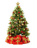 De spar van Kerstmis met kleurrijke lichten sluit omhoog Stock Fotografie