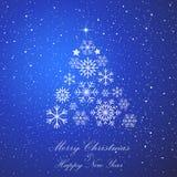 De spar van Kerstmis Vrolijke Kerstmis en de Gelukkige viering van de Nieuwjaarvakantie De sneeuw van Kerstmis sneeuwval De winte vector illustratie
