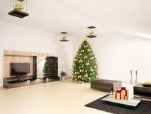 De spar van Kerstmis in woonkamer binnenlandse 3d Stock Afbeelding