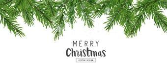 De spar vertakt zich de Decoratie van de Kerstmislay-out stock illustratie