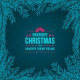 De spar vertakt zich kader op de donkerblauwe achtergrond Nieuwjaar 2018 en Vrolijk Kerstmis typografisch uitstekend kenteken Royalty-vrije Stock Fotografie