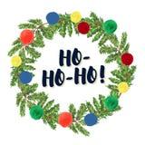 De sparrenkroon van waterverf artistieke hand getrokken die Kerstmis met ballen & het element & de gelukwens wordt verfraaid van  Stock Foto