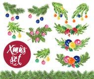 De sparrentak van waterverf die verfraaide de artistieke hand getrokken Kerstmis reeks op witte achtergrond wordt geïsoleerd Stock Fotografie