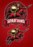De Spartaanse mascotte van het strijders berijdende paard stock illustratie
