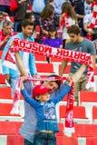 17/07/15 de Spartak 2-2 fãs de Ufa Fotografia de Stock