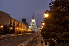 De Spassky-Toren van Kazan het Kremlin stock foto