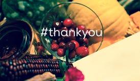 De spatie dankt u dank u kaardt Dankzegging hashtag Stock Fotografie