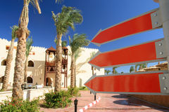 De spatie, rood ondertekent in een hotel Royalty-vrije Stock Afbeeldingen