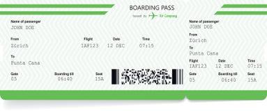 De spatie van het vliegtuigkaartje Groene instapkaart vector illustratie