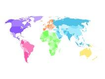 De spatie vereenvoudigde politieke kaart van wereld met verschillende kleuren van elk continent royalty-vrije illustratie