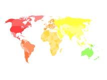 De spatie vereenvoudigde politieke kaart van wereld in verschillende kleuren van elk continent vector illustratie