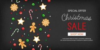 De Speciale aanbieding horizontale banner van de Kerstmisverkoop De winter feestelijke traditionele snoepjes, koekjes, lollys, su stock illustratie