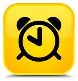 De speciale gele vierkante knoop van het wekkerpictogram Stock Afbeeldingen