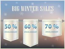 De speciale grote affiche van de wintertijdverkoop met moderne sneeuwvlokken Royalty-vrije Stock Foto