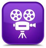 De speciale purpere vierkante knoop van het videocamerapictogram Stock Foto's