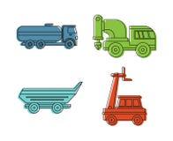 De speciale reeks van het voertuigpictogram, de stijl van het kleurenoverzicht vector illustratie