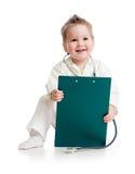 De speelarts van het jonge geitje of van het kind met stethoscoop Stock Fotografie