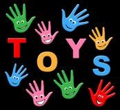 De speelgoedjonge geitjes wijst op het Kopen en Kinderjaren koopt Stock Foto's