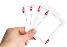 De speelkaart van de handholding met leeg kader royalty-vrije stock fotografie