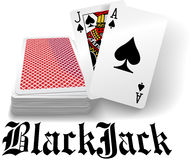 De speelkaartdek van de casino zwart hefboom stock illustratie
