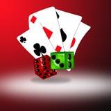 De speelkaarten en dobbelen Stock Foto's