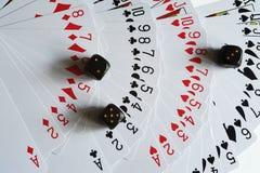 De speelkaarten en dobbelen Stock Afbeelding