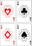 De speelkaarten van azen Stock Afbeelding