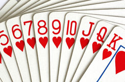De speelkaarten van harten Stock Afbeeldingen