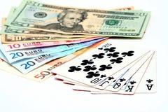 De speelkaarten van het geld stock foto