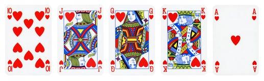 De speelkaarten van het hartenkostuum stock foto