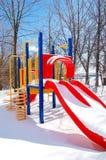 De speelplaats van de winter stock foto's