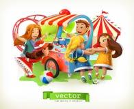De speelplaats van jonge geitjes Reuzenrad bij night Vector illustratie vector illustratie