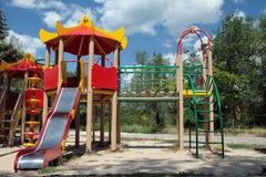 De speelplaats van Russische kinderen Stock Foto