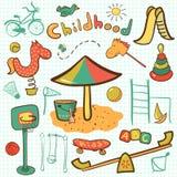 De speelplaatspictogram van beeldverhaalkinderen Stock Afbeelding