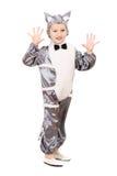 De speelse jongen kleedde zich als kat Stock Afbeeldingen