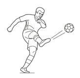 De speelvoetbal die van de voetballermens met bal springen Vector zwarte illustratie op witte witte achtergrond Royalty-vrije Stock Afbeeldingen
