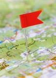 De speld van de duw in een kaart stock afbeeldingen
