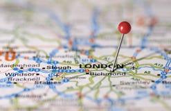 De Speld van de Kaart van Londen Stock Foto