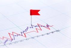 De Speld van de vlag op Diagram Stock Foto