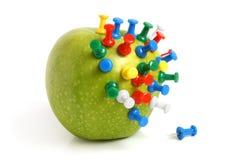 De spelden van de appel en van de tekening Stock Foto's