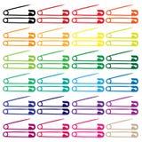 De spelden van de veiligheid en van de luier in kleuren - vector Royalty-vrije Stock Afbeelding