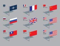 De Spelden van de vlag - de Veiligheidsraad van de NAVO en van de V.N. Stock Afbeeldingen