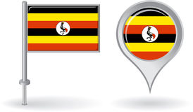 De speldpictogram van Oeganda en de vlag van de kaartwijzer Vector Stock Foto