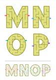 De spelen M, N, O, P van het alfabetlabyrint stock illustratie