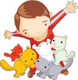 De spelen van de jongen met katten Stock Afbeeldingen